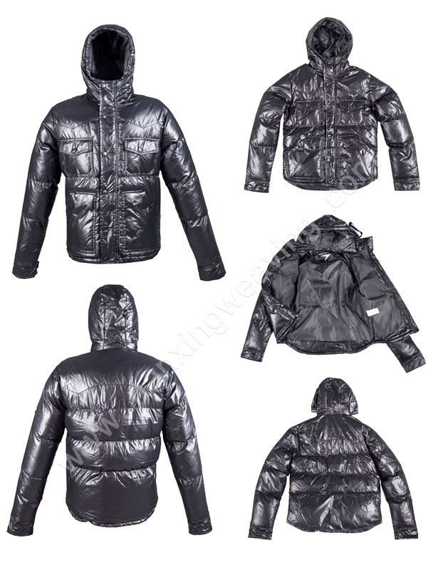Men Black Down PU Leather Jackets