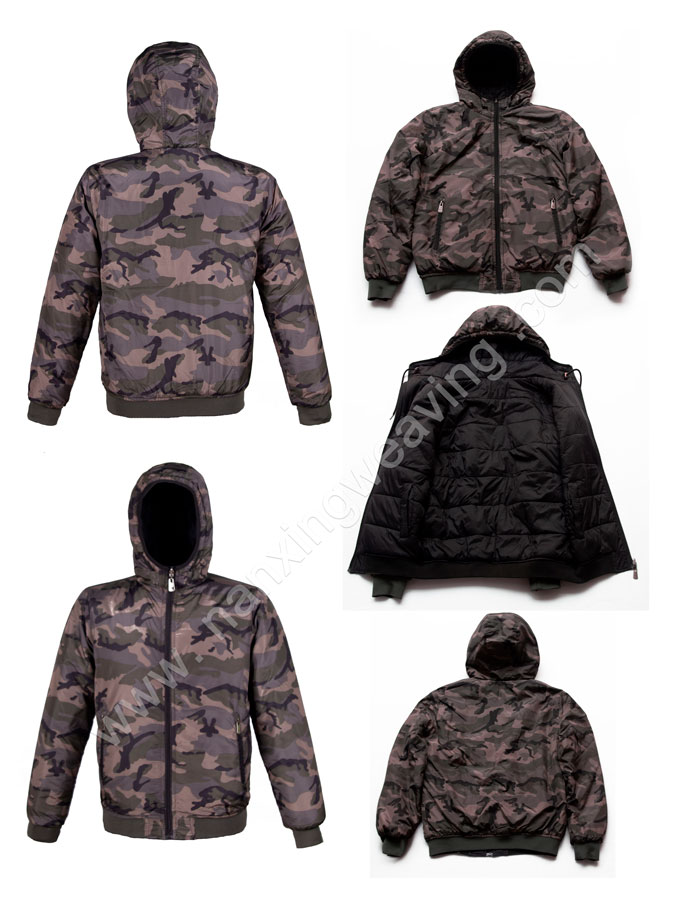 Men hooded camo down jacket