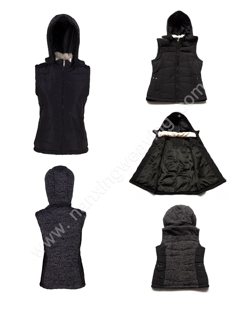 Womens Black Bubble Jacket With Hood