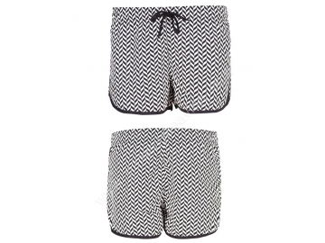 black white printing mens swim trunks