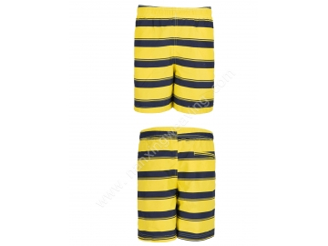 yellow black stripe print peach skin beach trunks