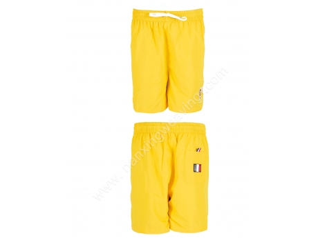 elastic waist bright yellow beach shorts