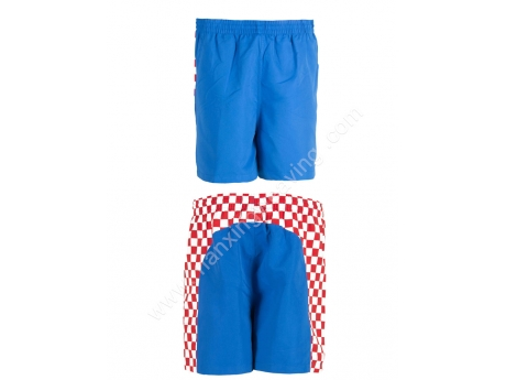 100% Polyester red white check mens beach shorts