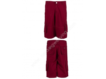Multi Pockets Cotton Loose Outdoor Purplish Red Cargo Shorts