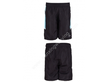 Black polyester sports shorts